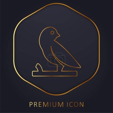 Bird On A Branch golden line premium logo or icon