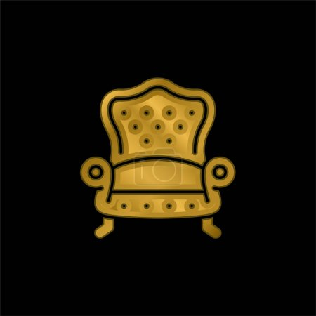 Illustration pour Fauteuil plaqué or icône métallique ou logo vecteur - image libre de droit