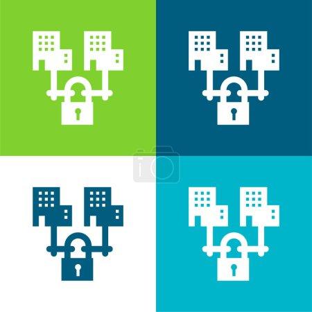 Photo pour B2b Ensemble d'icônes minimal plat à quatre couleurs - image libre de droit
