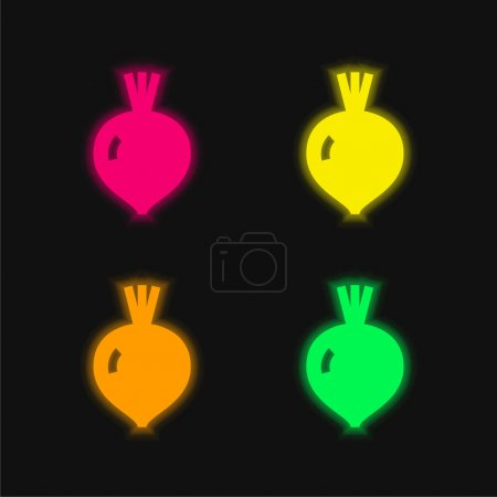 Illustration pour Betterave quatre couleur brillant icône vectorielle néon - image libre de droit