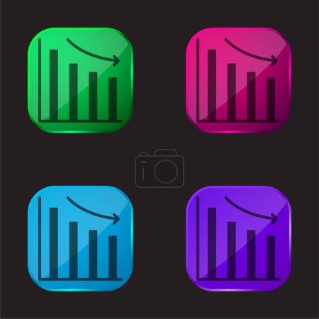 Illustration pour Barre icône de bouton en verre quatre couleurs - image libre de droit