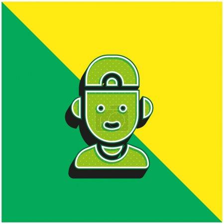 Illustration pour Garçon vert et jaune moderne icône vectorielle 3d logo - image libre de droit
