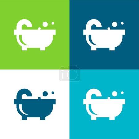 Bañera plana de cuatro colores icono mínimo conjunto