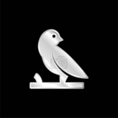 Bird On A Branch silver plated metallic icon