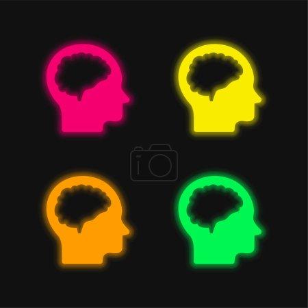 Photo pour Cerveau Et Tête quatre couleur brillant néon vecteur icône - image libre de droit