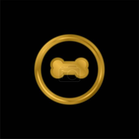 Photo for Bone gold plated metalic icon or logo vector - Royalty Free Image