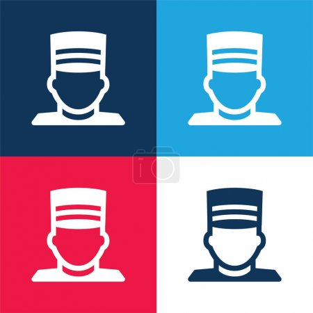 Bellboy blue and red four color minimal icon set