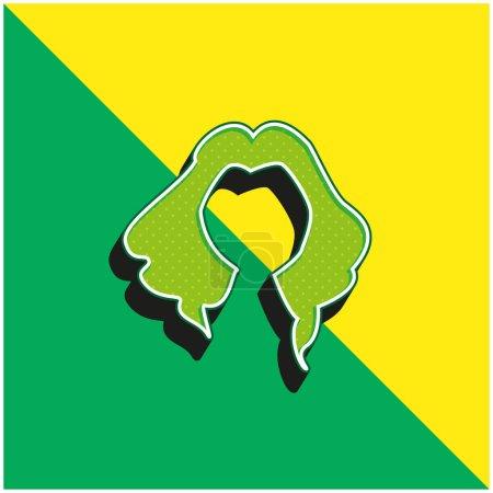 Illustration pour Noir Long Cheveux Femme Forme Vert et jaune moderne icône vectorielle 3d logo - image libre de droit