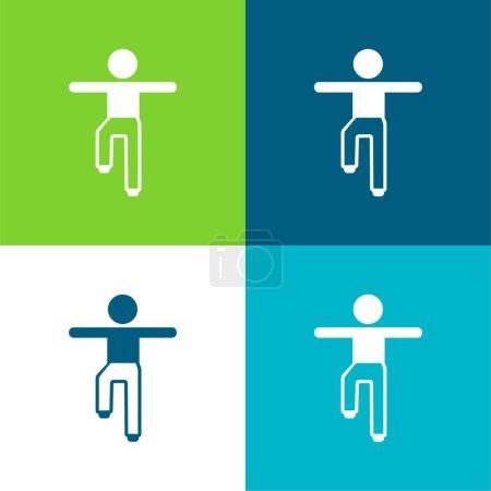 Illustration pour Boy Balance Position Ensemble d'icônes minimal plat à quatre couleurs - image libre de droit