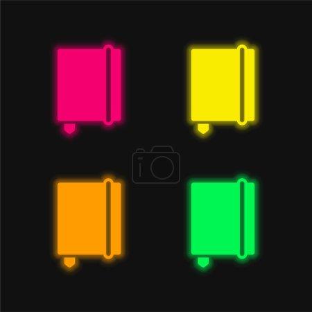 Illustration pour Ordre du jour Avec signet quatre couleur brillant icône vectorielle néon - image libre de droit