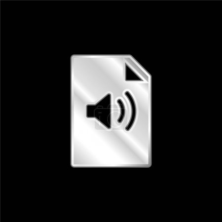 Illustration pour Fichier audio icône métallique argentée - image libre de droit