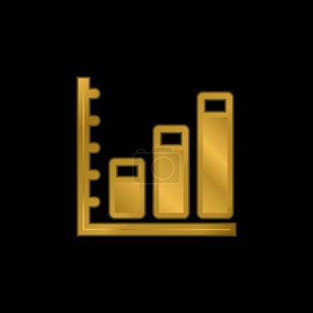 Illustration pour Statistiques commerciales ascendantes Icône métallique plaqué or graphique ou vecteur de logo - image libre de droit