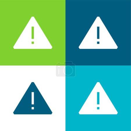Illustration pour Attention Ensemble d'icônes minimal plat quatre couleurs - image libre de droit