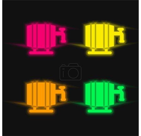 Illustration pour Barrel quatre couleurs brillant icône vectorielle néon - image libre de droit