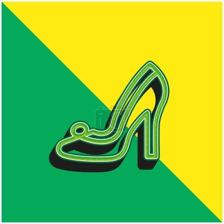 Illustration pour Chaussures de mariée Vert et jaune moderne icône vectorielle 3d logo - image libre de droit