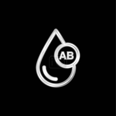 Photo for Blood Type AB silver plated metallic icon - Royalty Free Image