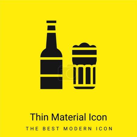 Illustration pour Bière minimale icône de matériau jaune vif - image libre de droit