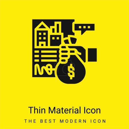 Photo pour Appartement minimal jaune vif icône matérielle - image libre de droit