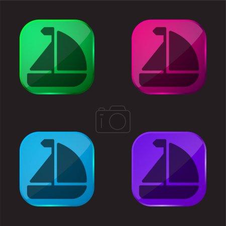 Photo pour Bateau icône bouton en verre quatre couleurs - image libre de droit