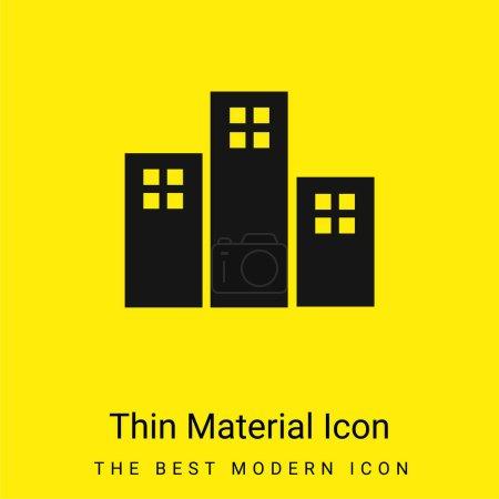 Photo pour Appartements Bâtiments minime jaune vif icône matérielle - image libre de droit