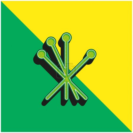 Acupuncture Green and yellow modern 3d vector icon logo