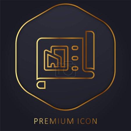 Illustration pour Architecture ligne d'or logo premium ou icône - image libre de droit