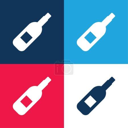 Photo pour Ensemble d'icônes minime quatre couleurs bleu alcool et rouge - image libre de droit