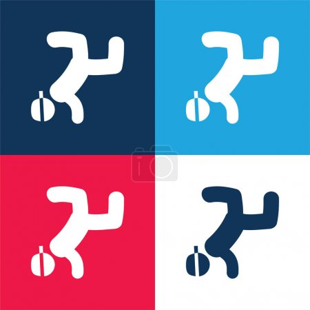 Breakdancing blue and red four color minimal icon set