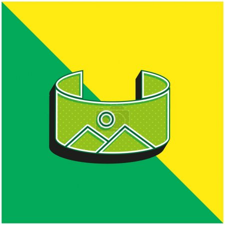 Illustration for 360 Image Green and yellow modern 3d vector icon logo - Royalty Free Image