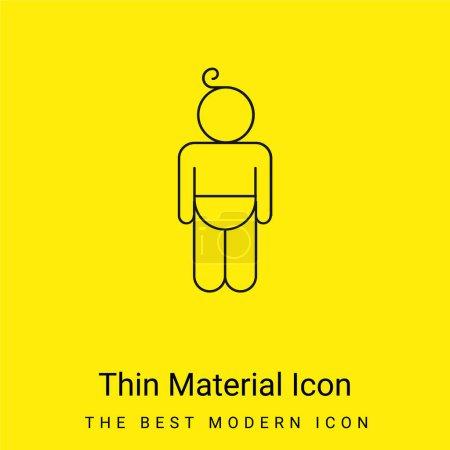 Baby trägt Windel Umriss minimal leuchtend gelbes Material Symbol