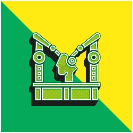 Illustration pour Machine d'assemblage Logo d'icône vectoriel 3D moderne vert et jaune - image libre de droit