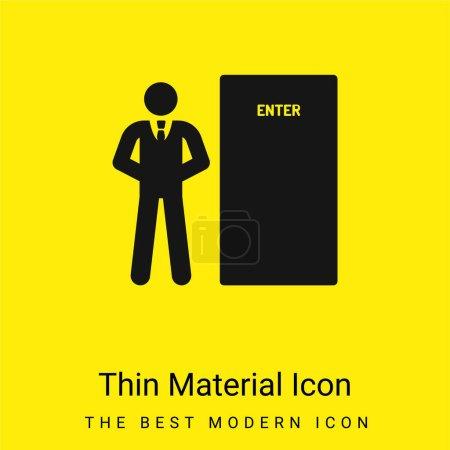 Photo pour Icône matérielle jaune vif minimale Bodyguard - image libre de droit