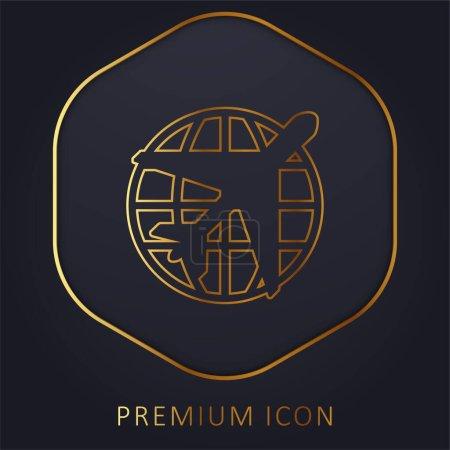 Illustration pour Ligne d'or de l'aéroport logo premium ou icône - image libre de droit
