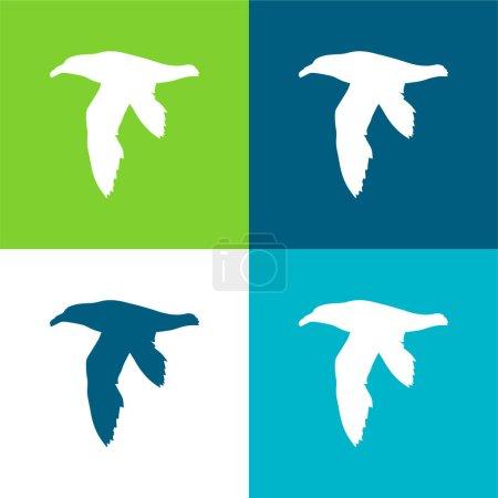 Photo pour Ensemble d'icônes minimal plat quatre couleurs en forme de pétrel d'oiseau - image libre de droit