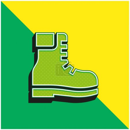 Boots Green and yellow modern 3d vector icon logo
