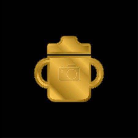 Photo pour Bébé bouteille à boire avec poignée des deux côtés plaqué or icône métallique ou logo vecteur - image libre de droit