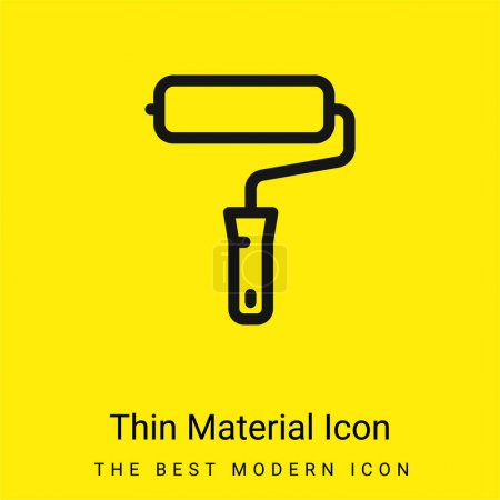 Illustration for Big Paint Roller minimal bright yellow material icon - Royalty Free Image