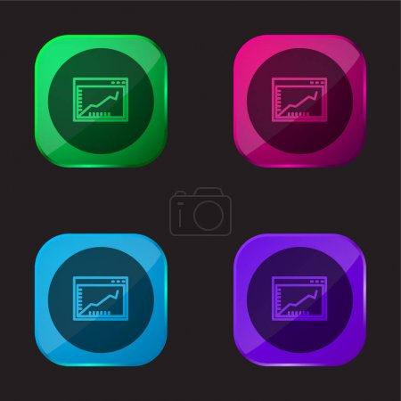 Illustration pour Graphique de ligne ascendante sur une fenêtre de navigateur à l'intérieur d'un cercle icône de bouton en verre de quatre couleurs - image libre de droit