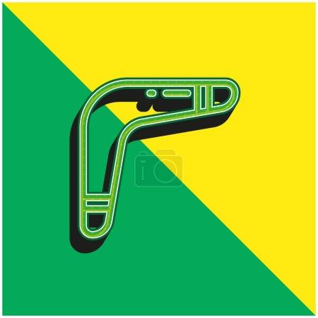 Boomerang Green and yellow modern 3d vector icon logo