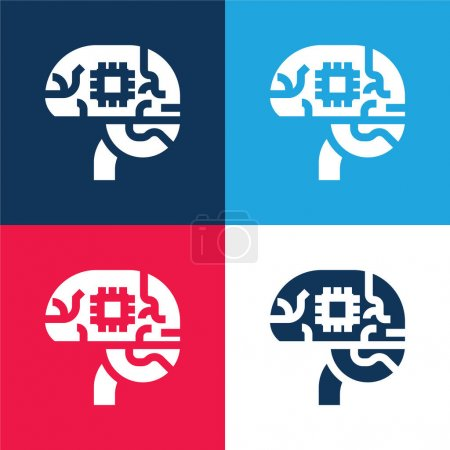 Photo for Artificial Intelligence blue and red four color minimal icon set - Royalty Free Image