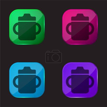 Photo pour Bébé bouteille à boire avec poignée des deux côtés icône de bouton en verre de quatre couleurs - image libre de droit