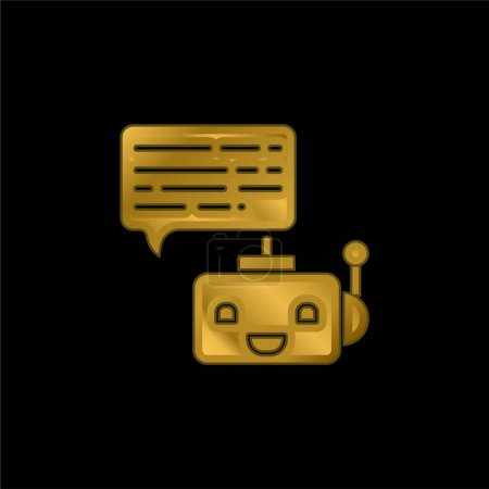 Illustration for Bot gold plated metalic icon or logo vector - Royalty Free Image