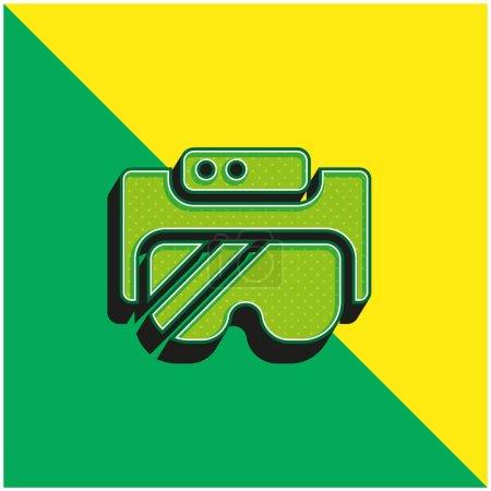 Photo pour Lunettes Ar Logo vectoriel 3d moderne vert et jaune - image libre de droit