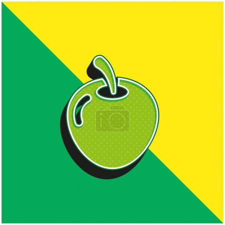 Big Apple Green and yellow modern 3d vector icon logo