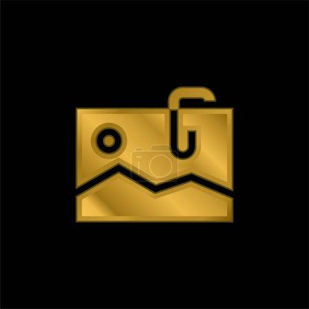 Illustration pour Icône métallique plaqué or attachée ou vecteur de logo - image libre de droit