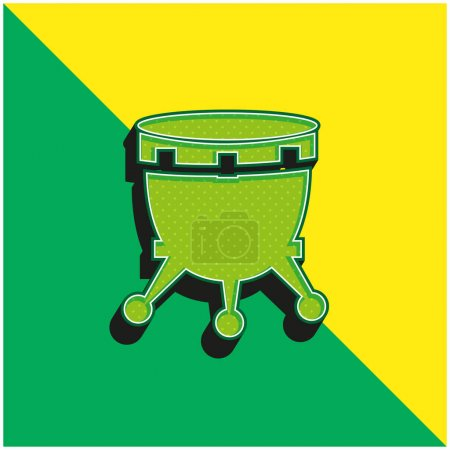 Illustration pour Tambour africain avec support Logo vectoriel 3d moderne vert et jaune - image libre de droit