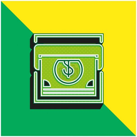 Atm Green and yellow modern 3d vector icon logo