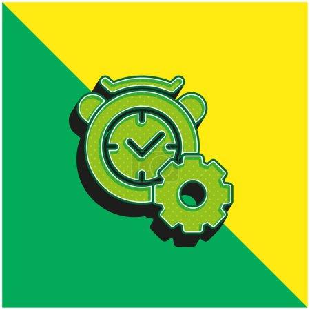 Illustration pour Réveil Vert et jaune icône vectorielle 3d moderne logo - image libre de droit