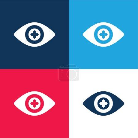 Illustration pour Ensemble d'icônes minimes bleu et rouge pour lentilles de contact Bionic - image libre de droit