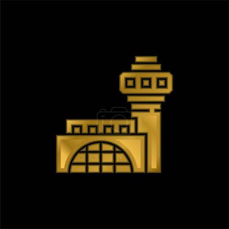 Photo pour Icône métallique plaqué or de l'aéroport ou vecteur de logo - image libre de droit